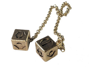 Antiqued Budget Metal Smuggler's Golden Dice - Scoundrel Gambler Rogue - Gold Plated Metal Dice - Hang in your cockpit -Zinc Alloy