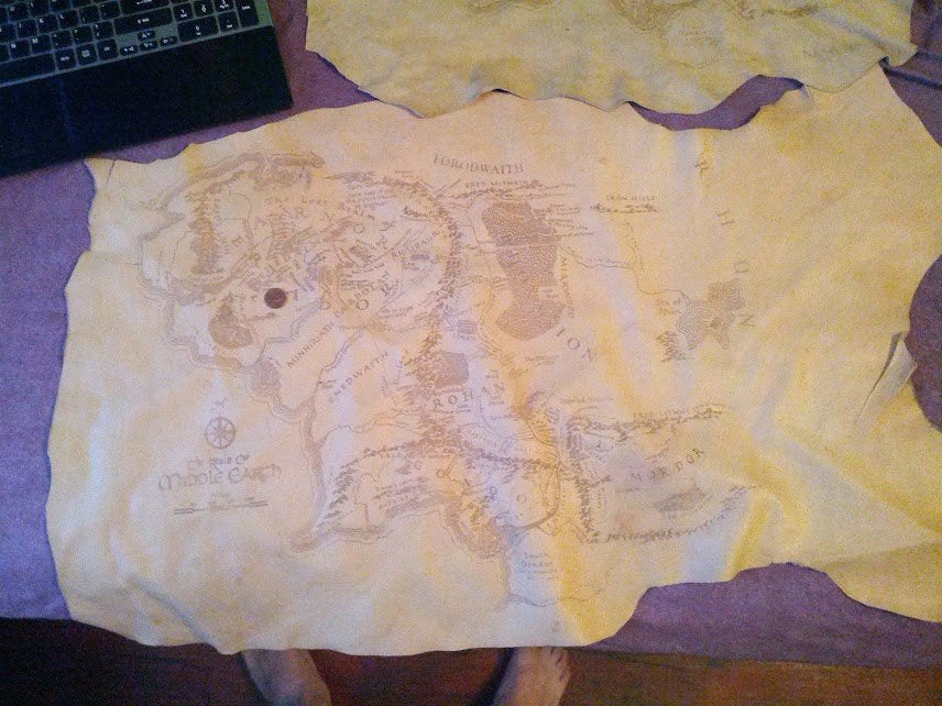 Middle Earth Map Large.Large Leather Middle Earth Map Custom 3d Stuff