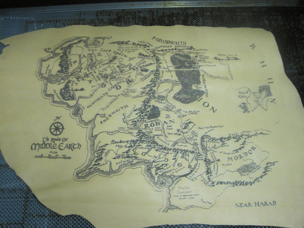 Large Leather Middle Earth Map