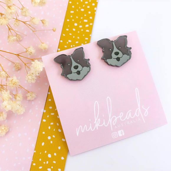 Mike the Border Collie Mirror Studs (choose your own!)