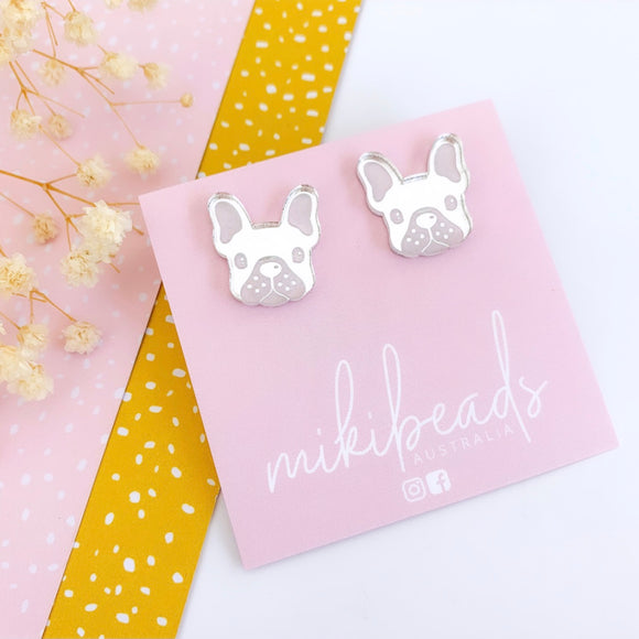 Waffles the French Bulldog Mirror Studs (choose your own!)