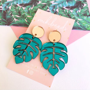 Teal Monstera Dangles
