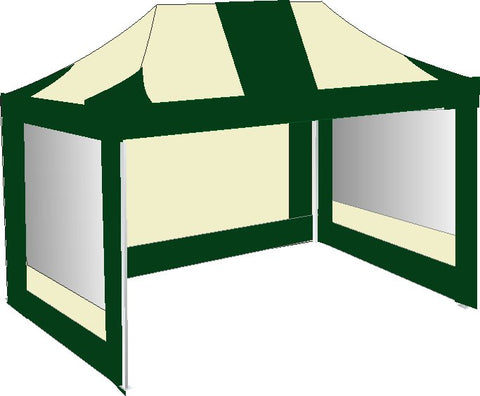 3M x 4.5M Cream and Green Pop Up Gazebo