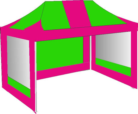3M x 4.5M Pink and Lime Green Pop Up Gazebo