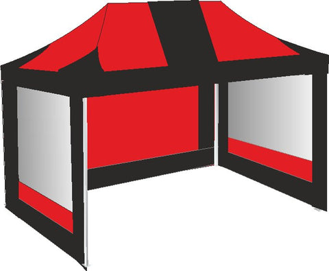 3M x 4.5M Red and Black Pop Up Gazebo