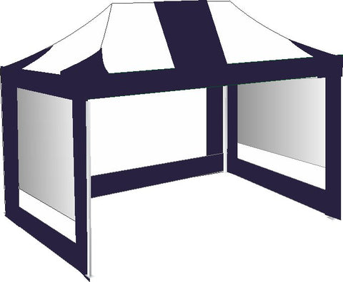 3M x 4.5M Navy Blue and White Pop Up Gazebo