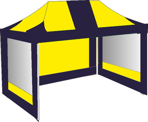 3M x 4.5M Navy Blue and Yellow Pop up Gazebo