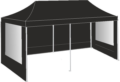 3M x 6M Black Pop Up Gazebo