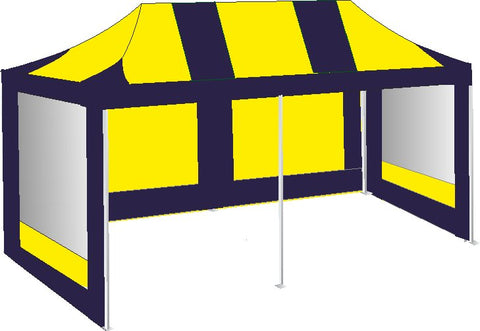 3M x 6M Navy Blue and Yellow Pop Up Gazebo