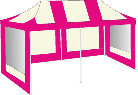 3M x 6M Pink and Cream Pop Up Gazebo