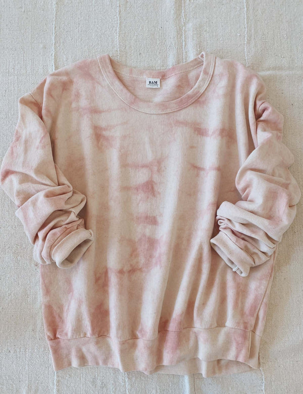 Bliss And Mischief-Organic Crew Sweatshirt in Tie Dye Rose