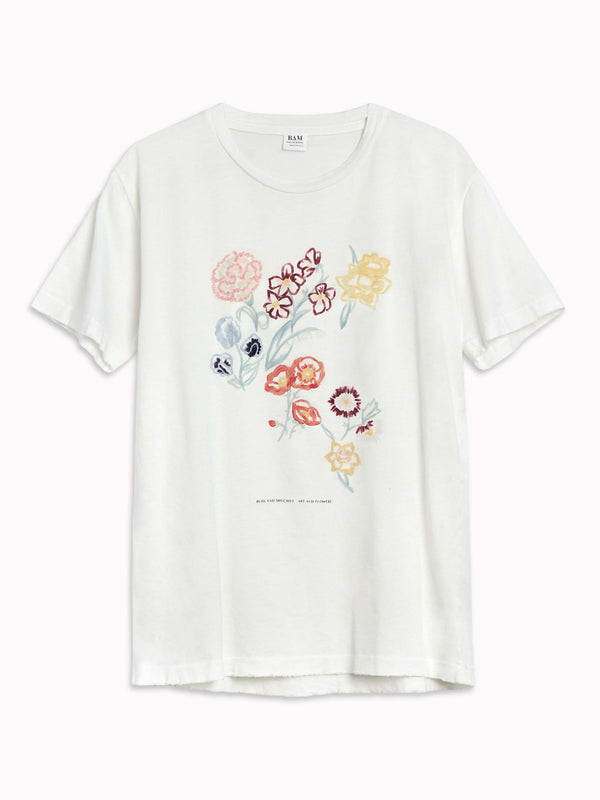 'Art and Flowers' Distressed Tee