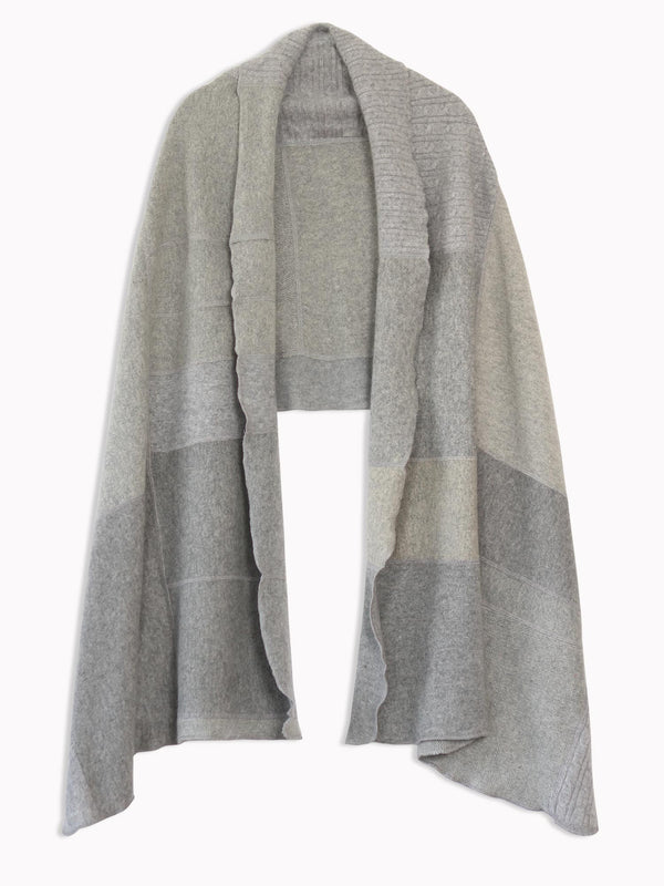 Bliss And Mischief Cashmere Patchwork Wrap in Grey