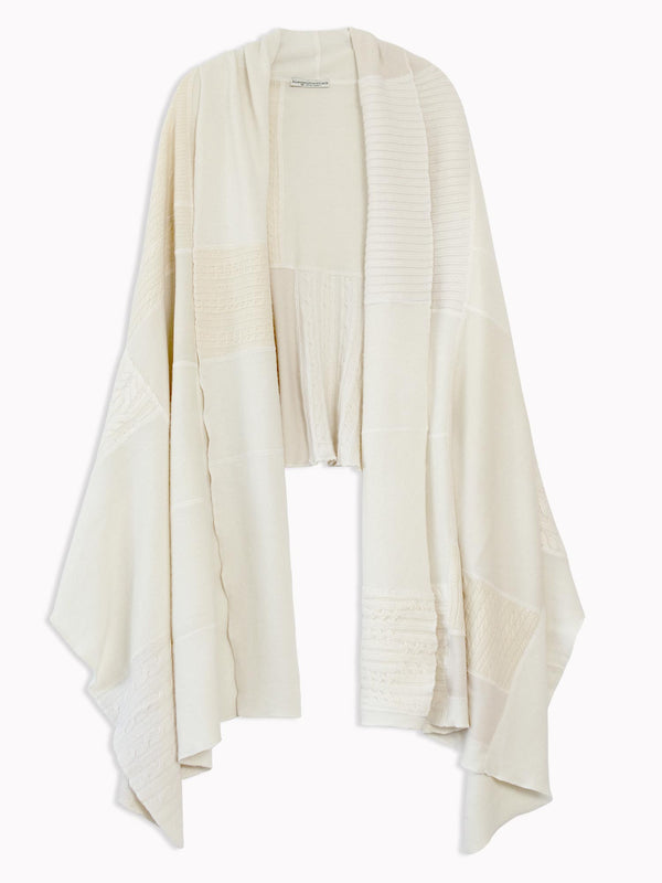 Bliss And Mischief Cashmere Patchwork Wrap in Ivory