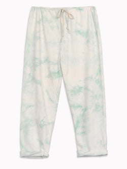 Bliss And Mischief-Organic Drawstring Sweatpant in Tie Dye Aloe