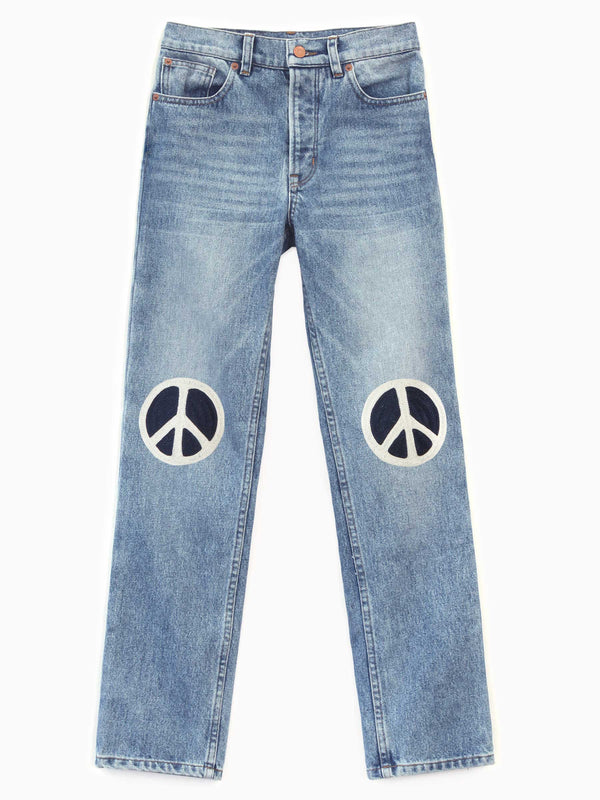 Peace Embroidered Denim - Bliss And Mischief