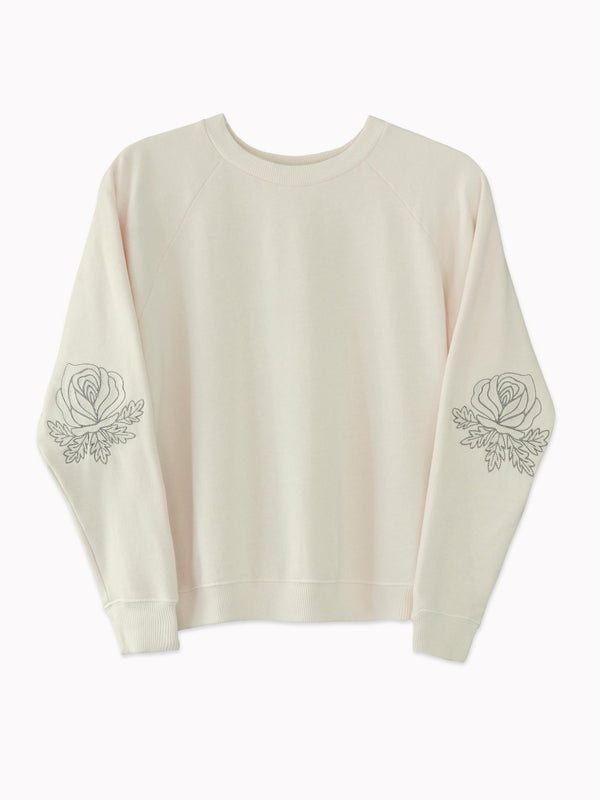 Western Roses Embroidered Sweatshirt in Ivory - Bliss And Mischief