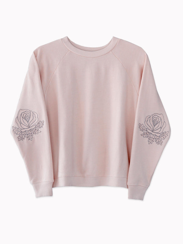 Western Roses Embroidered Sweatshirt in Rose - Bliss And Mischief