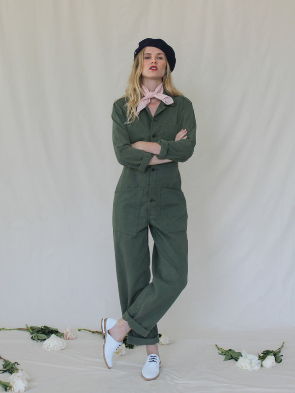 Long Flight Suit in Army Green - Bliss And Mischief