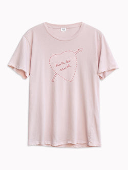 Bliss And Mischief - 'Don't be Cruel' Embroidered Tee in Rose