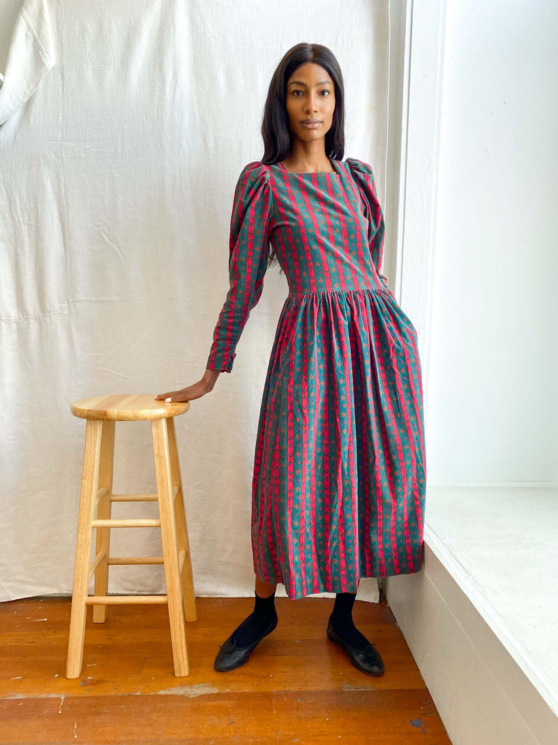 Vintage Laura Ashley Stripe Cord Dress (S/M)