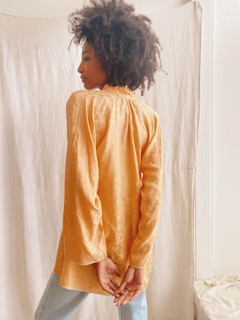 Vintage Peach Silk Wrap Blouse (S-L)