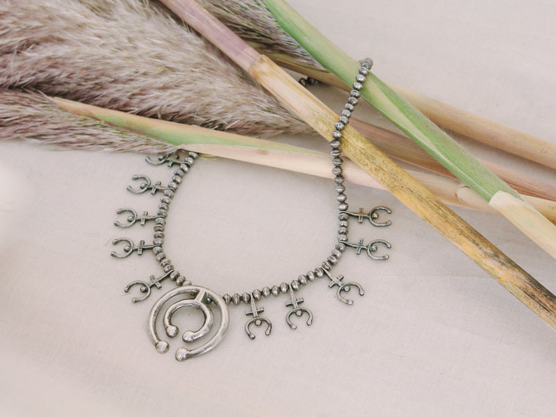 Gypsy Hunter Vintage Silver Squash Blossom Necklace