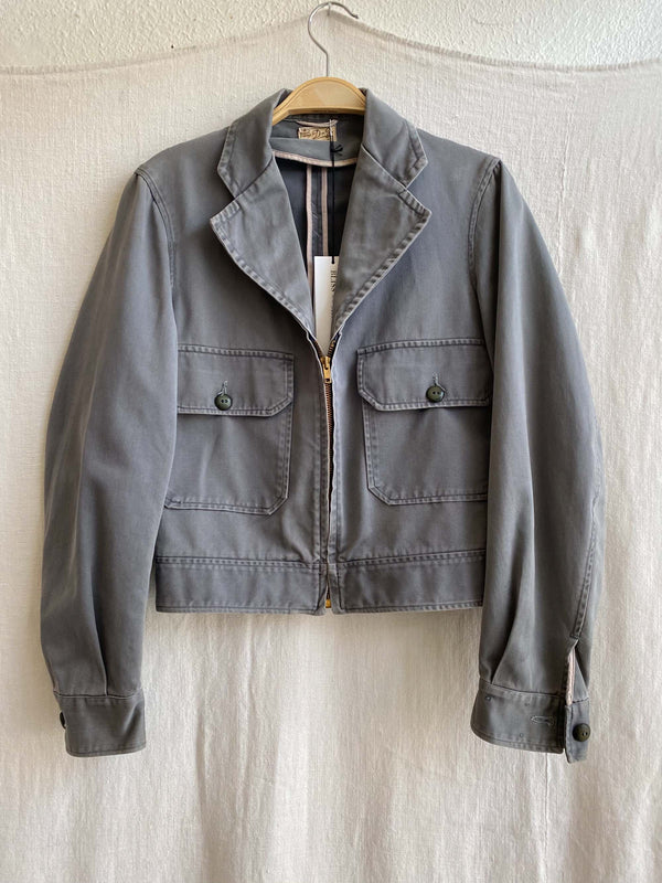 Vintage Faded Grey Workwear Jacket (XS-M)