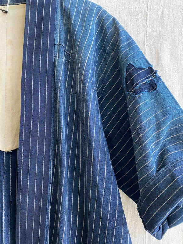 Vintage Blue Striped Boro Jacket (S/M)