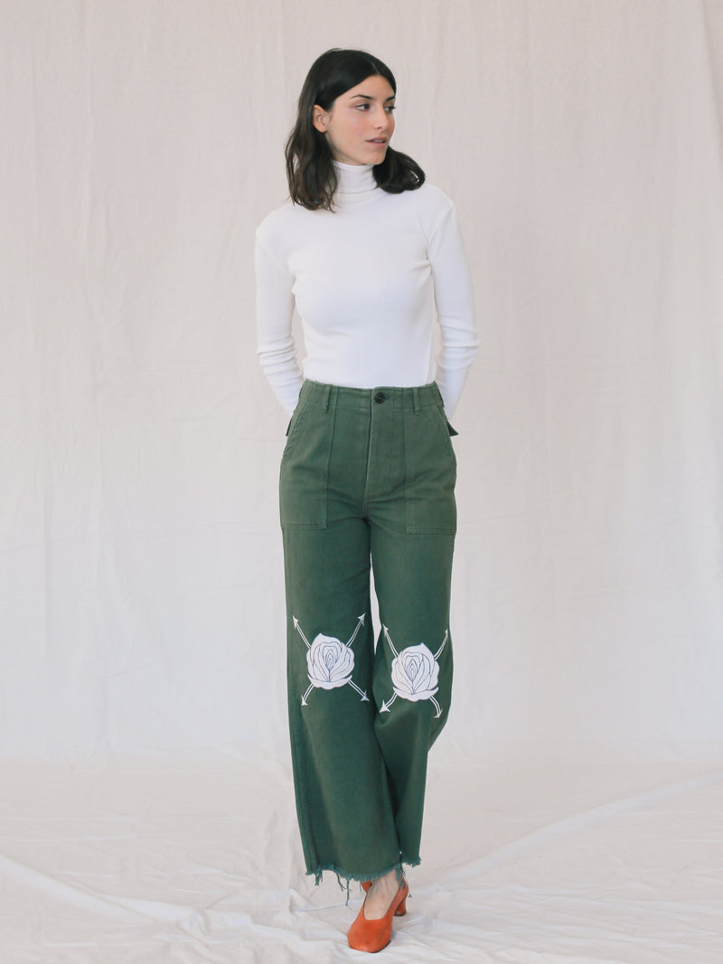Bliss And Mischief Song of the East Army Pant in Ivory
