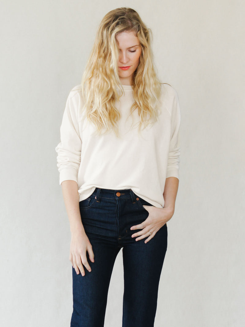 Raglan Sweatshirt in Ivory - Bliss And Mischief