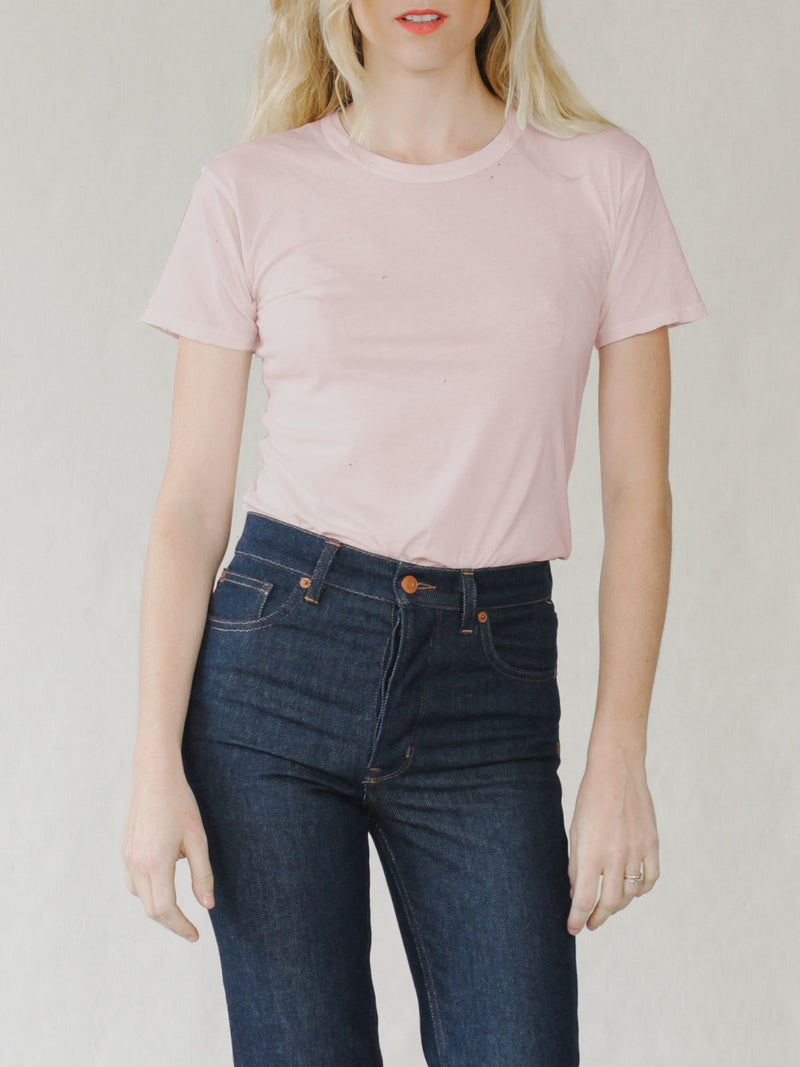 Bliss And Mischief Destroyed Slim Tee in Rose