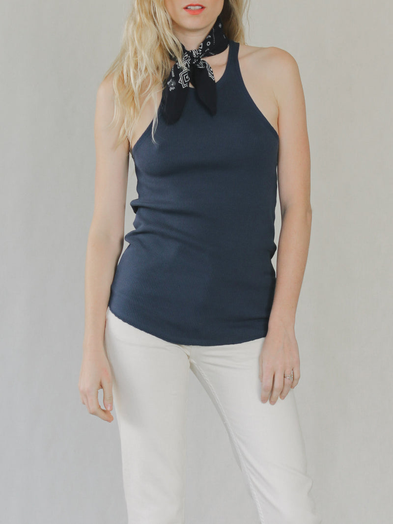 Rib Slim Tank in Navy - Bliss And Mischief