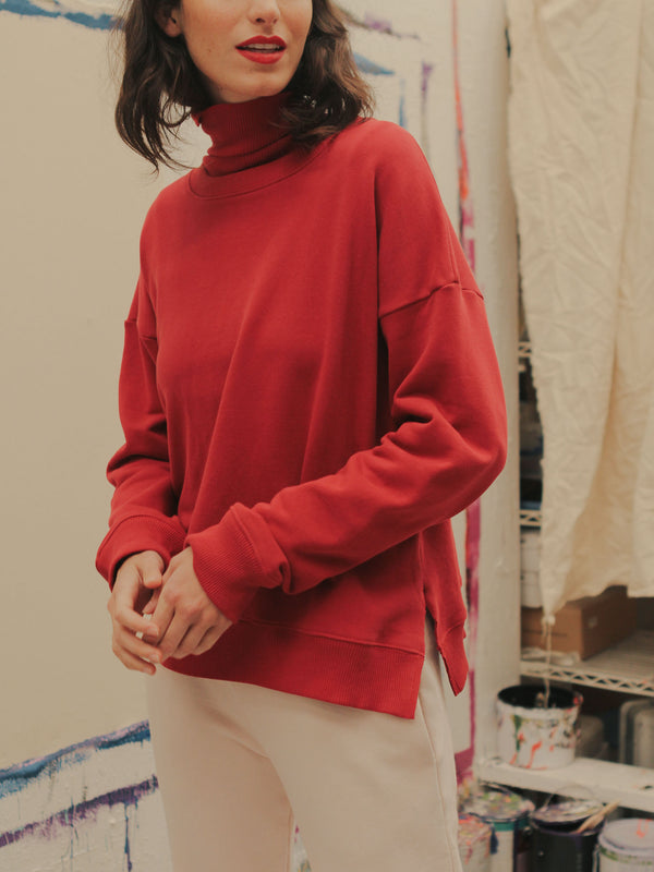 Rib Turtleneck in Raspberry