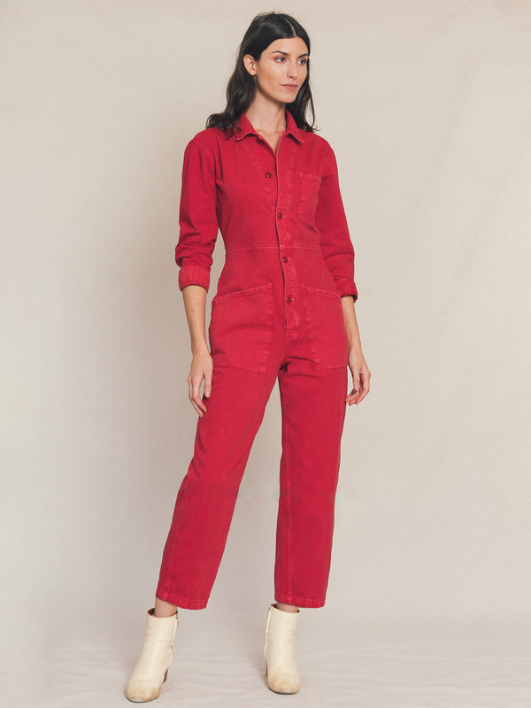 Long Flight Suit in Raspberry