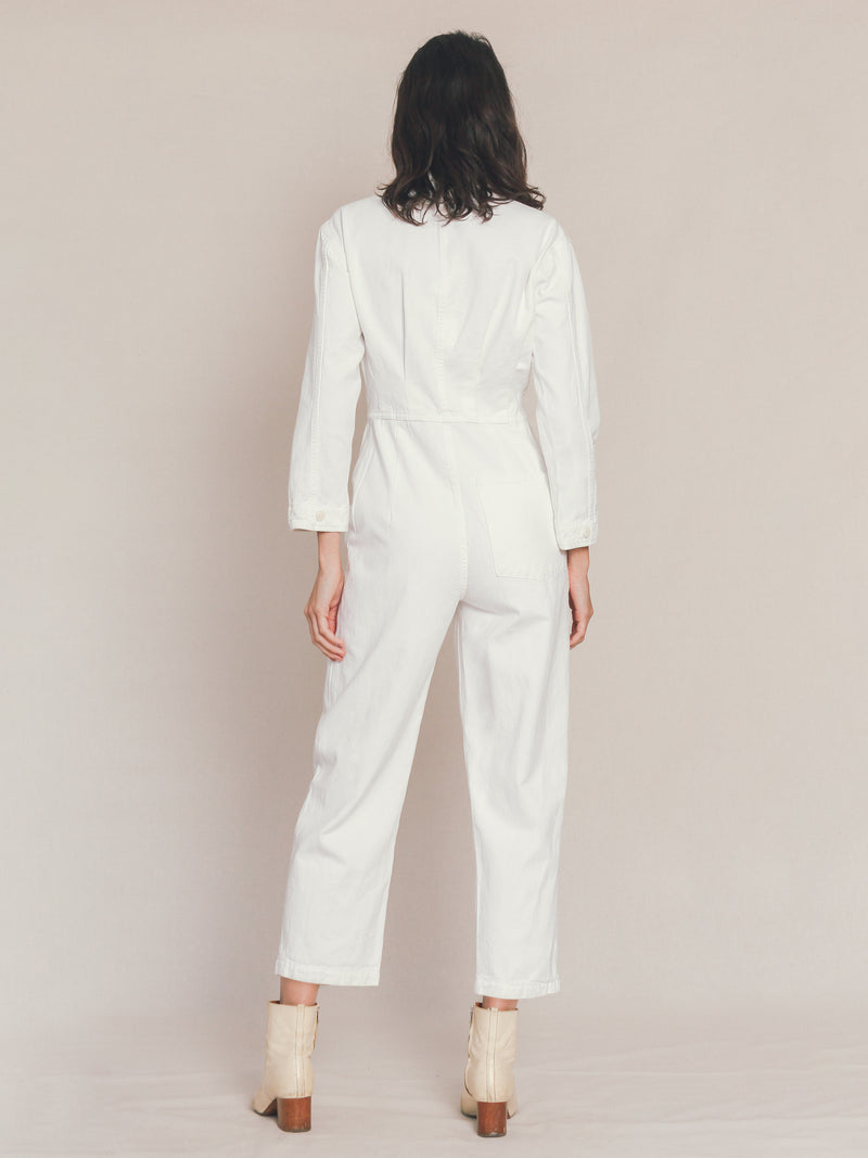 Long Flight Suit in Ivory - Bliss And Mischief