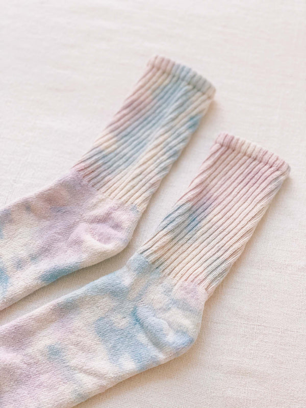 Bliss And Mischief-Organic Socks in Tie Dye Lilac Sky