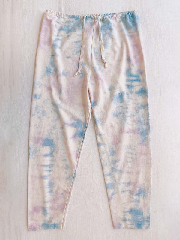 Bliss And Mischief-Organic Drawstring Sweatpant in Tie Dye Lilac Sky