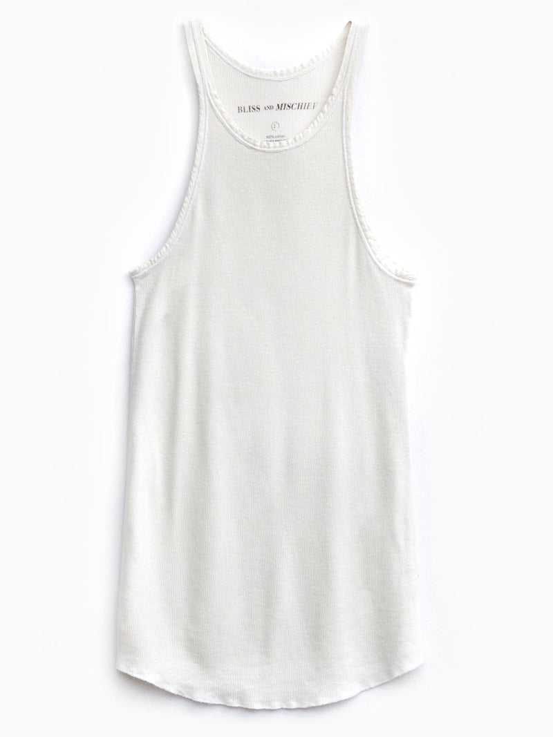 Rib Slim Tank in Vintage White - Bliss And Mischief