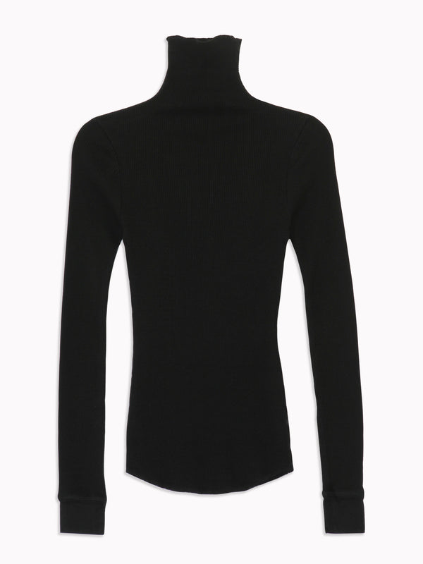 Rib Turtleneck in Black