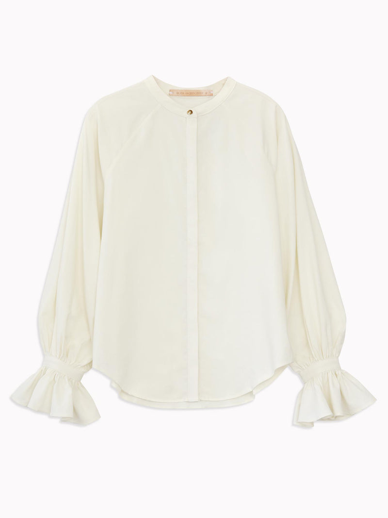 Ruffle Cuff Blouse in Ivory