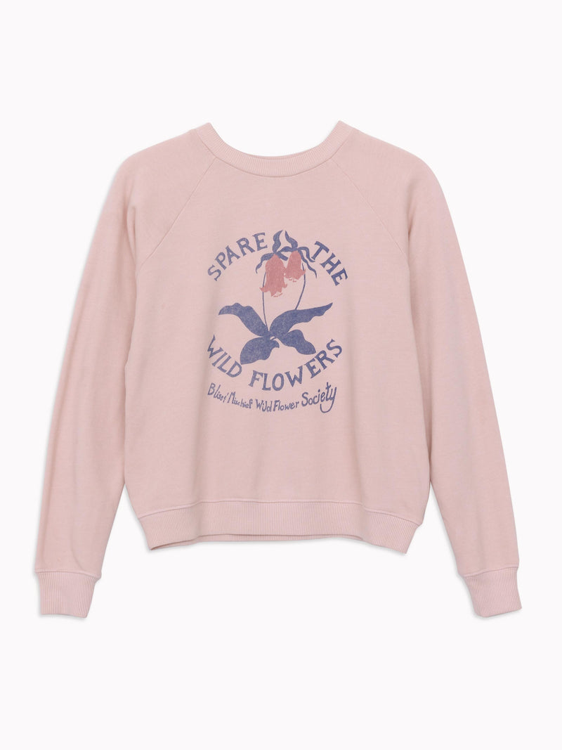 Bliss And Mischief - 'Spare the Wild Flowers' Sweatshirt in Rose