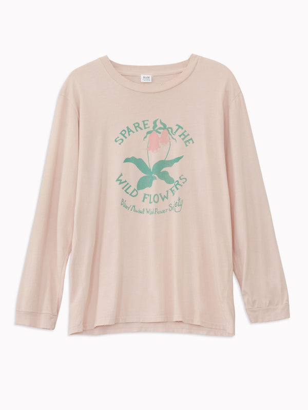 'Spare the Wildflowers' Long Sleeve Tee in Bisque