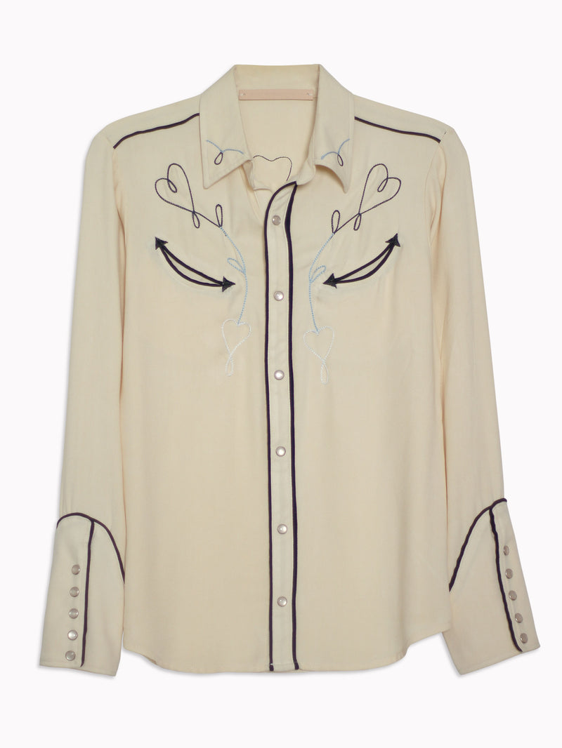Sweetheart Embroidered Western Shirt - Bliss And Mischief