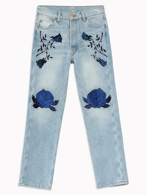 Conjure Flower Embroidered Denim - Bliss And Mischief