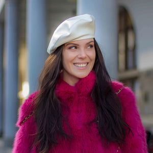 Pearl white vegan leather beret