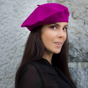 Purple woollen beret