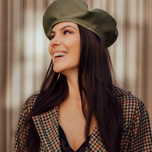 Army green vegan leather beret