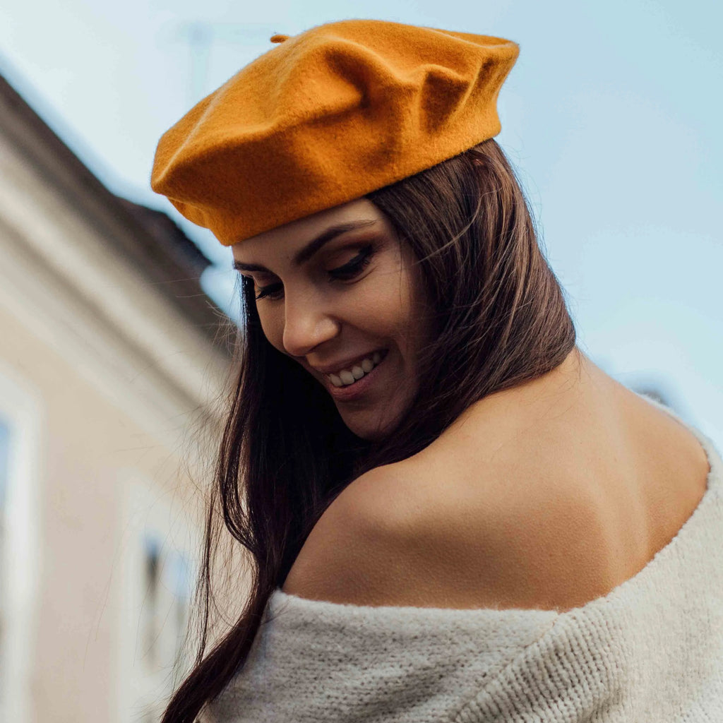 Fire yellow woollen beret