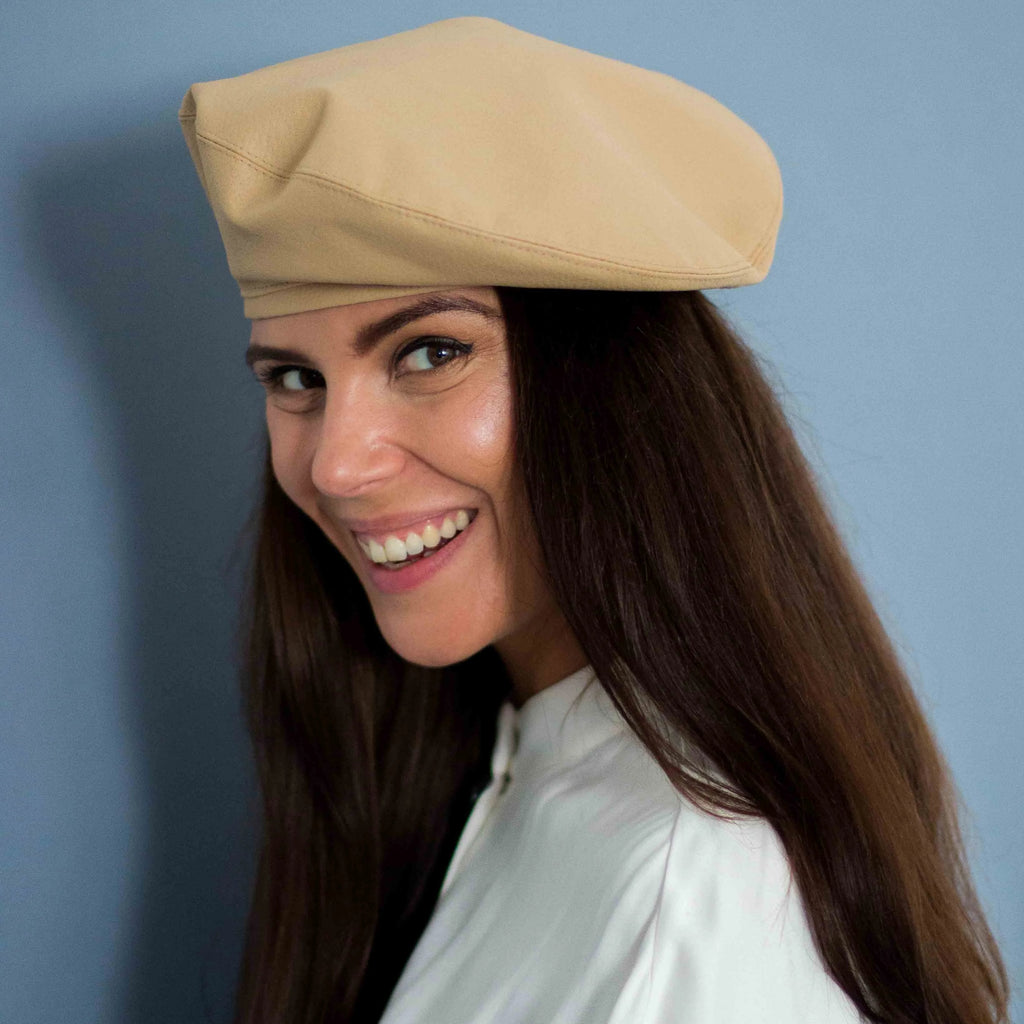 Beige vegan leather beret